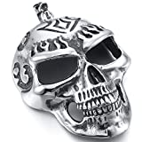 MENDINO Mens Pendant Tribal Huge Heavy Flaming Devil Skull Stainless Steel with a 22 inch Chain