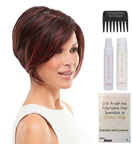 Ignite Heat Friendly Synthetic Wig by Jon Renau, 15 Page Christy's Wigs Q & A Booklet, HD Smooth Detangler, Synthetic Shampoo & Wide Tooth Comb -Color: 12FS8 by Jon Renau & Christy's Wigs