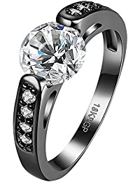 Womens Black Gold Plated White Round Cubic Zirconia CZ Crystal Promise Engagement Ring Wedding Band