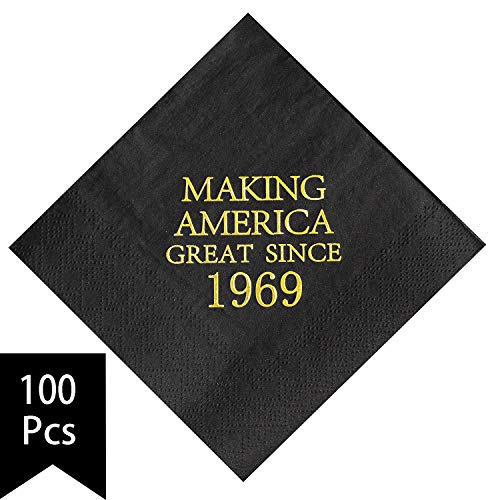 Crisky 50th Birthday Napkins Black and Gold Dessert Beverage Cocktail Luncheon Napkins 50th Birthday Decoration Party Supplies, Making America Great Since 1969, 100 Pack 4.9