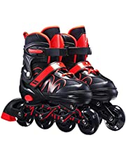 Mumaya Patins Inliner infantis unissex em linha tamanho 26-42 comprimento ajustável unissex fitness patins para rodas adultas