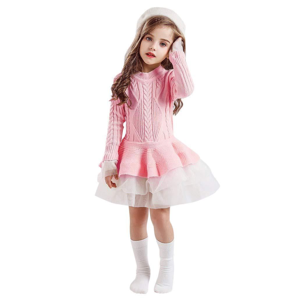 Riou M/ädchen Pulloverkleid Winter Langarm Warm Strickpullover Kleider mit T/üll Mini Prinzessinkleid