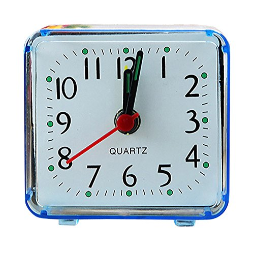 FIN86 Loud Alarm Clock Cute 5.8x5.5cm Square Small Travel Beep Portable Quartz Battery Operated Loud Alarm Clock (Blue)