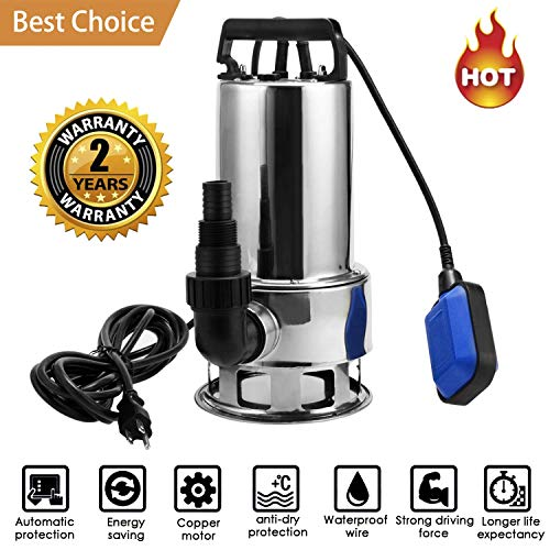 Qiohone 1.5 HP Stainless Steel Sump Pump Submersible Pump Dirty Clean Water Pump Pool Pump w/ 15ft Cable and Float Switch (1.5HP) (Stainless Pump Steel Sump)