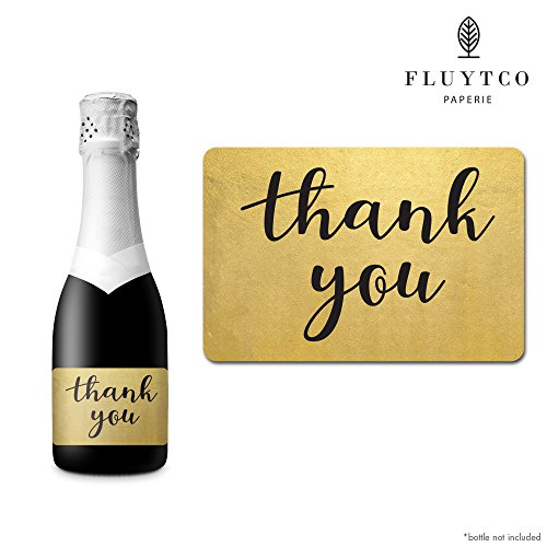 Thank You - Gold Foil - Set of 20 Party Label Stickers for Mini Champagne & Wine Bottles, Bags, Cards - Wedding, Bridal Shower, Engagement Party, Baby Shower, Gift Idea -