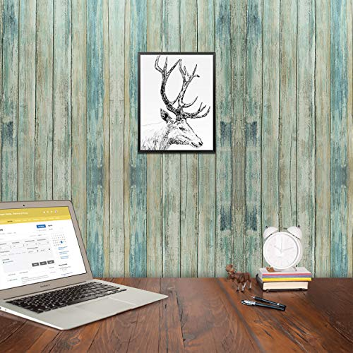 Blue Faux Wood Grain Contact Paper Self Adhesive Waterproof 11.8 x 118'' Removable 3 D Panes PVC Stick and Peel Wallpaper for Kitchen Cabinets Countertops Sticker Retro Nostalgia Country Style ()