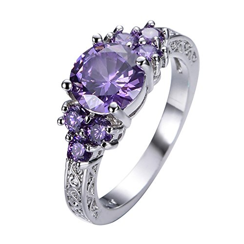 SMILE Round Amethyst Ring White Gold Filled Jewelry Vintage Wedding Rings