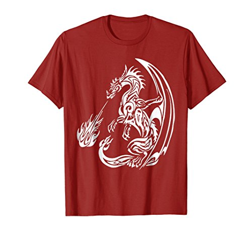 Breathing Dragon Fire T-shirt (Mens The Great Fire Breathing Dragon T-Shirt XL Cranberry)