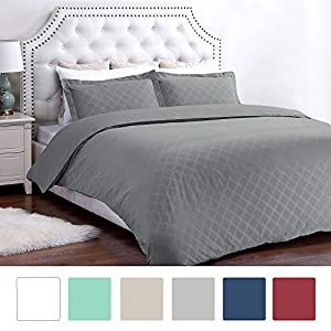 Duvet Cover Set with Zipper Closure-Grey Diamond Pattern, King (104