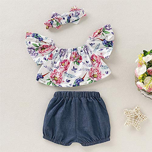 2f17a3200 ... Baby Girl Summer Clothes Ruffles Floral Top Denim Shorts with Cute  Headband 12 Months Girl Clothes ...