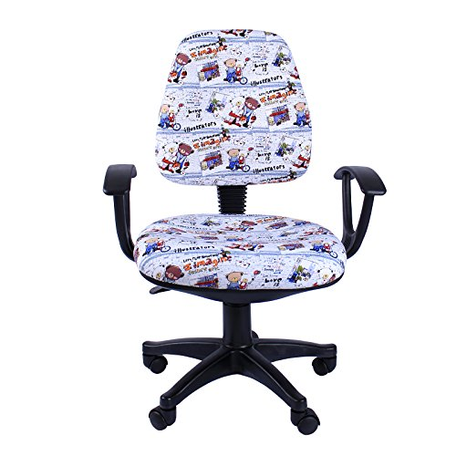 Emall Life 360 Ergonomic Adjustable Swivel Chair Mid-back Fabric Task/Office/Computer/Desk Chair with Armrests, Colorful (Canvas Reclining Recliner)