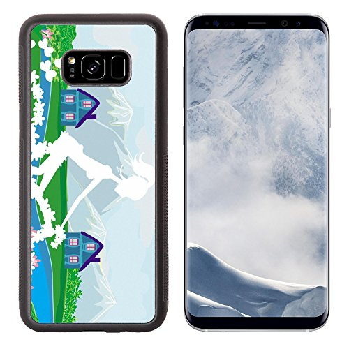Luxlady Samsung Galaxy S8 Plus S8+ Aluminum Backplate Bumper Snap Case IMAGE ID 26460787 Abstract card with girl riding a bike