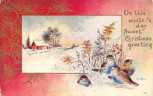 (Christmas Post Card Old Xmas Postcard National Art Company Writing on back)