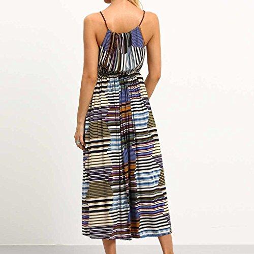 QHGstore Mujeres vestido de rayas largo color vestido estilo bohemio impresión sin mangas de playa