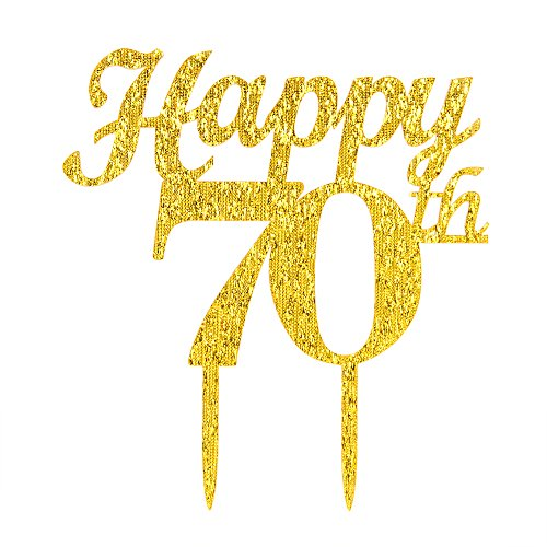 Gold Happy 70th Birthday Cake Topper - Wedding Anniversary Party Decoration Photo Props