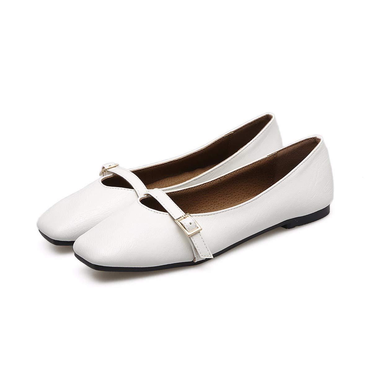 KPHY-Flache Sohle Schuhe Weiblich Flachen Mund Platz Kopf Oma Schuhe Weichen Boden Schwangere Flache Sohle Schuhe.37 Weiße