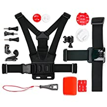 Action Camera 17-in-1 Extreme Sports Accessories Bundle - Compatible with the HP F-200 Car Cam and Camcorder - by DURAGADGET