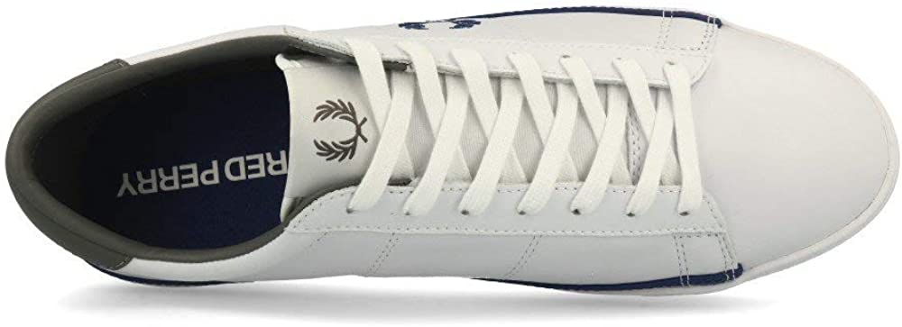 Fred Perry Spencer Leather White Blue Blanc