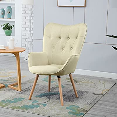 """LSSBOUGHT Stylish Fabric Accent Chair Modern Muted Fabric Arm Chair,Tan - Sold as one modern fabric arm chair, solid wood frame legs come in a light brown finish, steady, stylish and comfortable. Overall dimension: 28.5"""" D X 26.5"""" W X 42.5"""" H, dimension details showed in the display picture. Contemporary design, sleek curved wingback style, button trim in the chair back looks very attractive. - living-room-furniture, living-room, accent-chairs - 51Jj5b4aM6L. SS400  -"""
