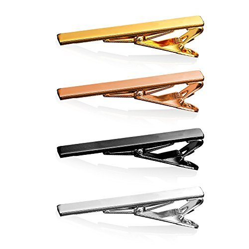 4 Pcs Tie Clips, U7 Men Father's Day Gifts Present Silver Rose Gold / Gold Black Necktie Bar Tie Bar Clip Set for Regular Tie 2 Inch