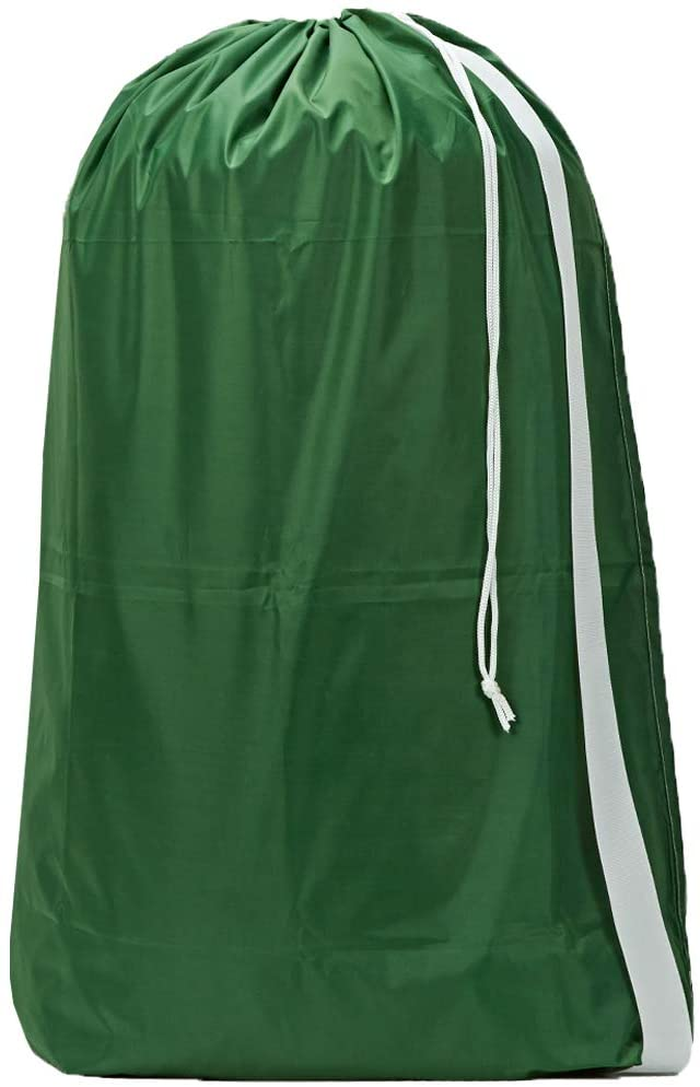 HOMEST XL Nylon Laundry Bag with Strap, Machine Washable Large Dirty Clothes Organizer, Easy Fit a Laundry Hamper or Basket, Can Carry Up to 4 Loads of Laundry, Green, (Patent Pending)