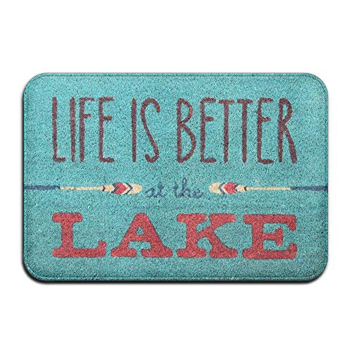 (SPXUBZ Life is Better at The Lake Boating Non Slip Entrance Rug Outdoor/Indoor Durable and Waterproof Machine Washable Door mat Size:23.6x15.7)