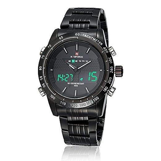 De acero inoxidable de alta calidad NAVIFORCE Movimiento de Japón de los relojes de los hombres de la única en el ámbito militar: Amazon.es: Relojes