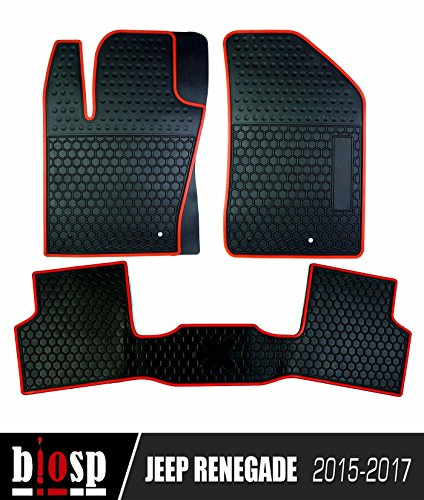Ash Natural Flooring (biosp Jeep Renegade 2014-2017 Runner Front and Rear seat Floor Liners Floor Mats, Black - 3 Piece)