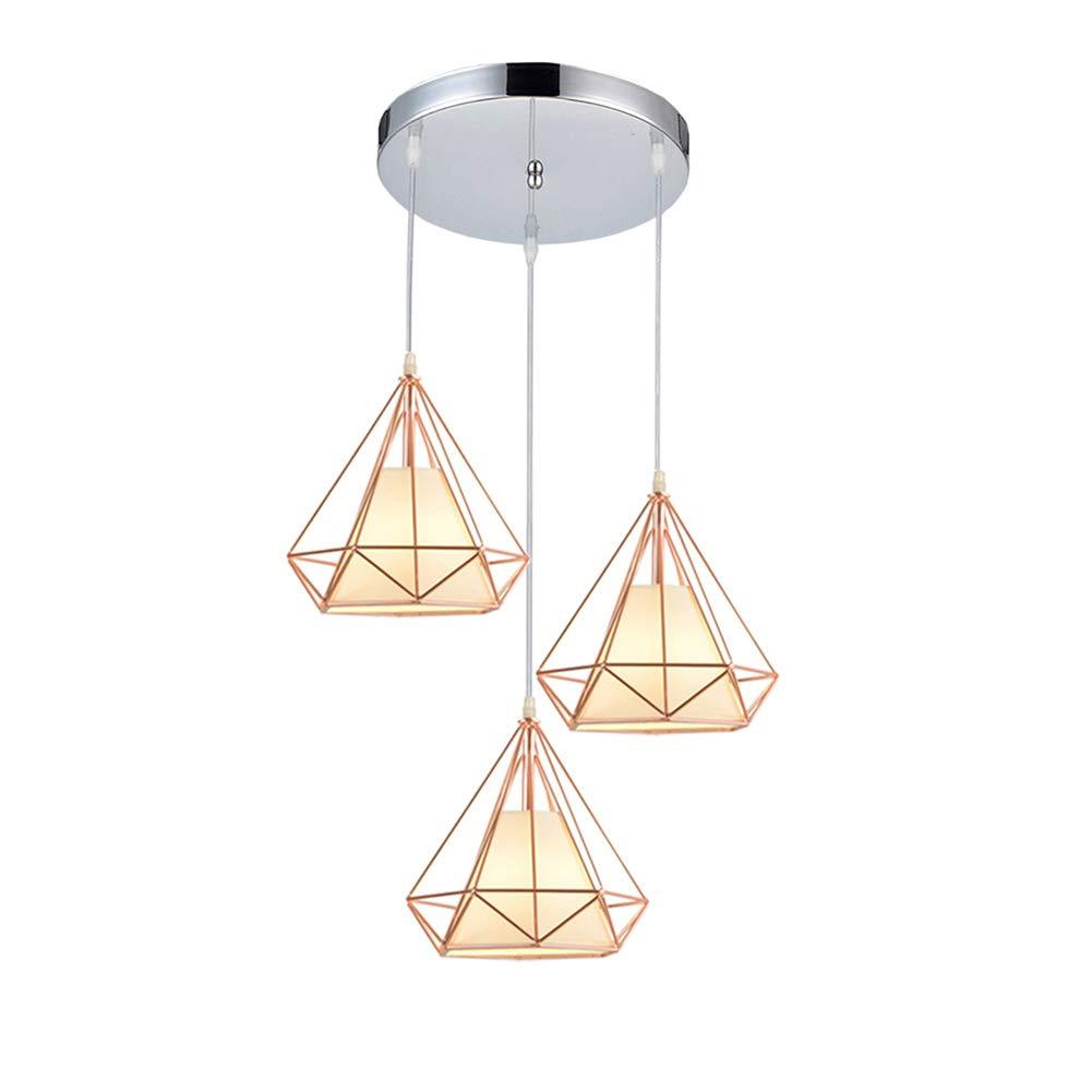 FZC-YMアイアンアートシャンデリア幾何学的led現代北欧ヴィンテージペンダントランプ業界吊りランプ天井照明屋内カフェ廊下, 3 heads   B07TVD8RLQ