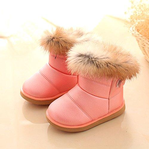 Winter Kinder Schneestiefel - hibote Baby Jungen Mädchen Winddicht Warm Boots Schnee Stiefel Lässige Schuhe Rosa