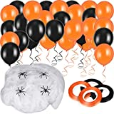 Blulu 50 Pieces Halloween Latex Balloons and 100 g White Stretch Spider Webs with 20 Pieces Fake Spiders and 4 Rolls of Balloon Curling Ribbon for Halloween Themed Party Decoration Supplies