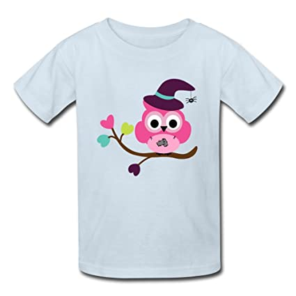 Custom Kids Cotton Short Sleeve Cute Halloween Owl Printed T Shirt With Large
