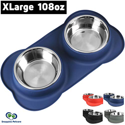 - Large Dog Bowl - 2 Large Capacity 54oz (108oz Total) Removable Stainless Steel Bowls Set in a Stylish No Mess, No Spill, Non Skid, Silicone Mat. Food & Water Bowl for Medium to Large Dogs (Navy Blue)