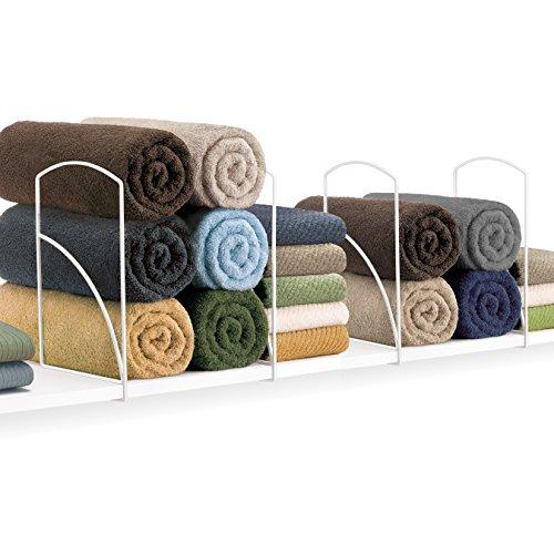 2 Shelf Closet Storage - Lynk Tall Shelf Dividers - Closet Shelf Organizer (Set of 2) - White
