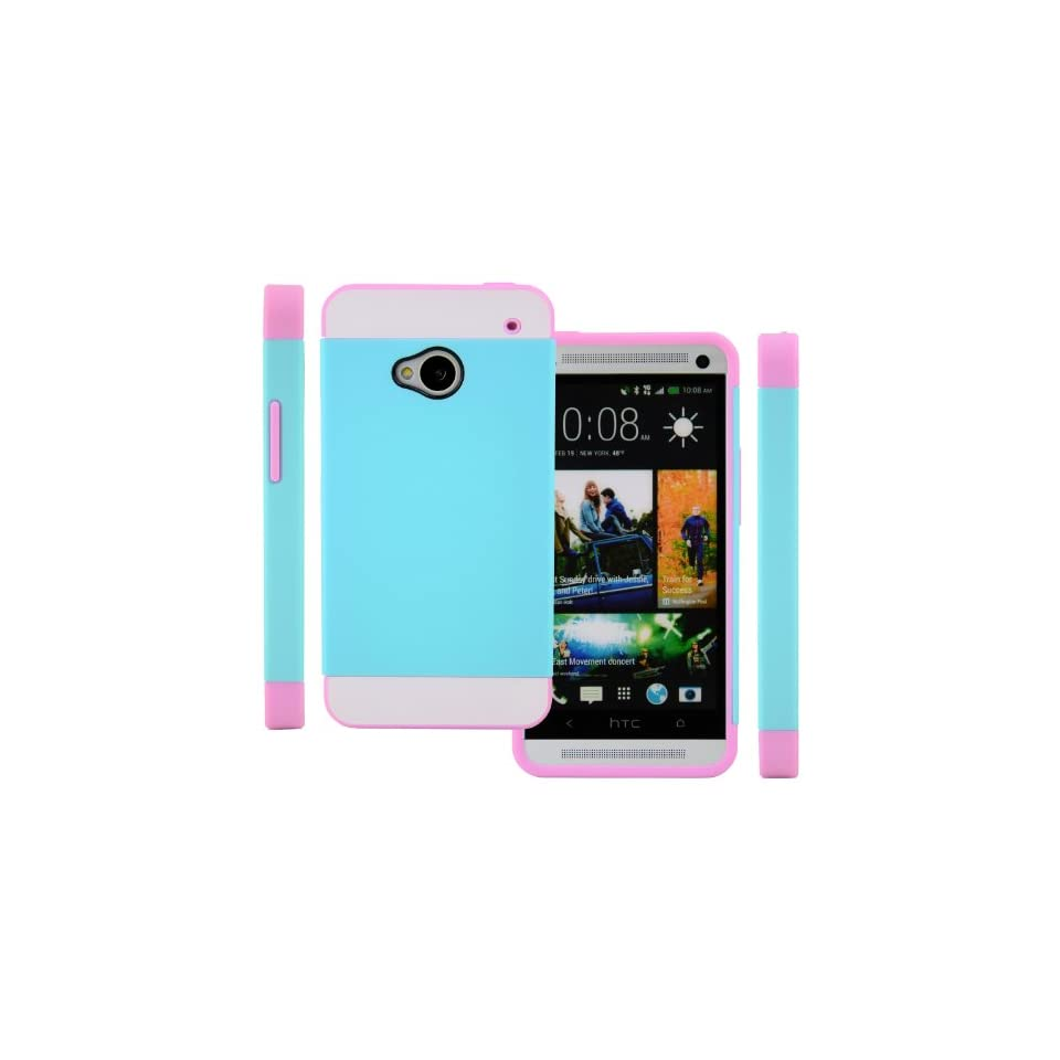 CellJoy Hybrid TPU 2PC Layered Hard Case Rubber Bumper for HTC ONE M7 (At&t / Sprint / T Mobile / Unlocked) [CellJoy Retail Packaging] (Teal Blue / White / Pink)