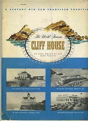 Cliff House Souvenir Menu 1950s San Francisco Seal Rock California Abalone ()
