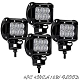 QUKAEWORLD DOT Approved 4in 4PCS 18W Flood Driving Fog Light On Bumper Grill Off Off Road Led Lights Pods Cube Led Work Lights for UTV Honda Polaris 4 Wheeler Zero Turn Rtv Motorhome Toro Ztr Truck 12 V 24 V,1 year warranty