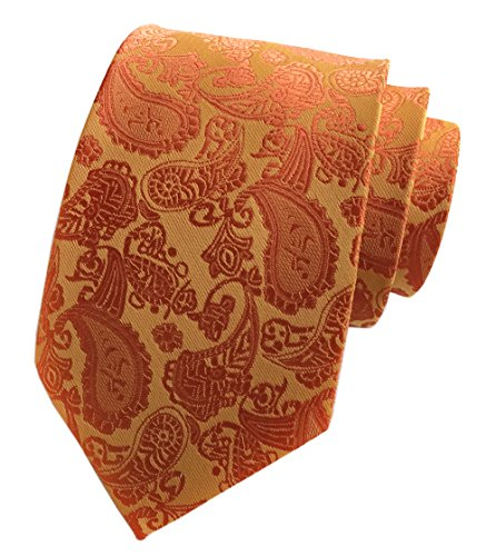 Elfeves Men's Orange Woven Silk Tie Fancy Regular Soft Necktie Business Present