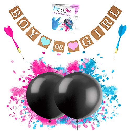 Gender Reveal Balloon 2x 36 inch SUPER Big Powder Smoke and Confetti Pop Pink and Blue with Banner and 2x Darts for Baby Shower