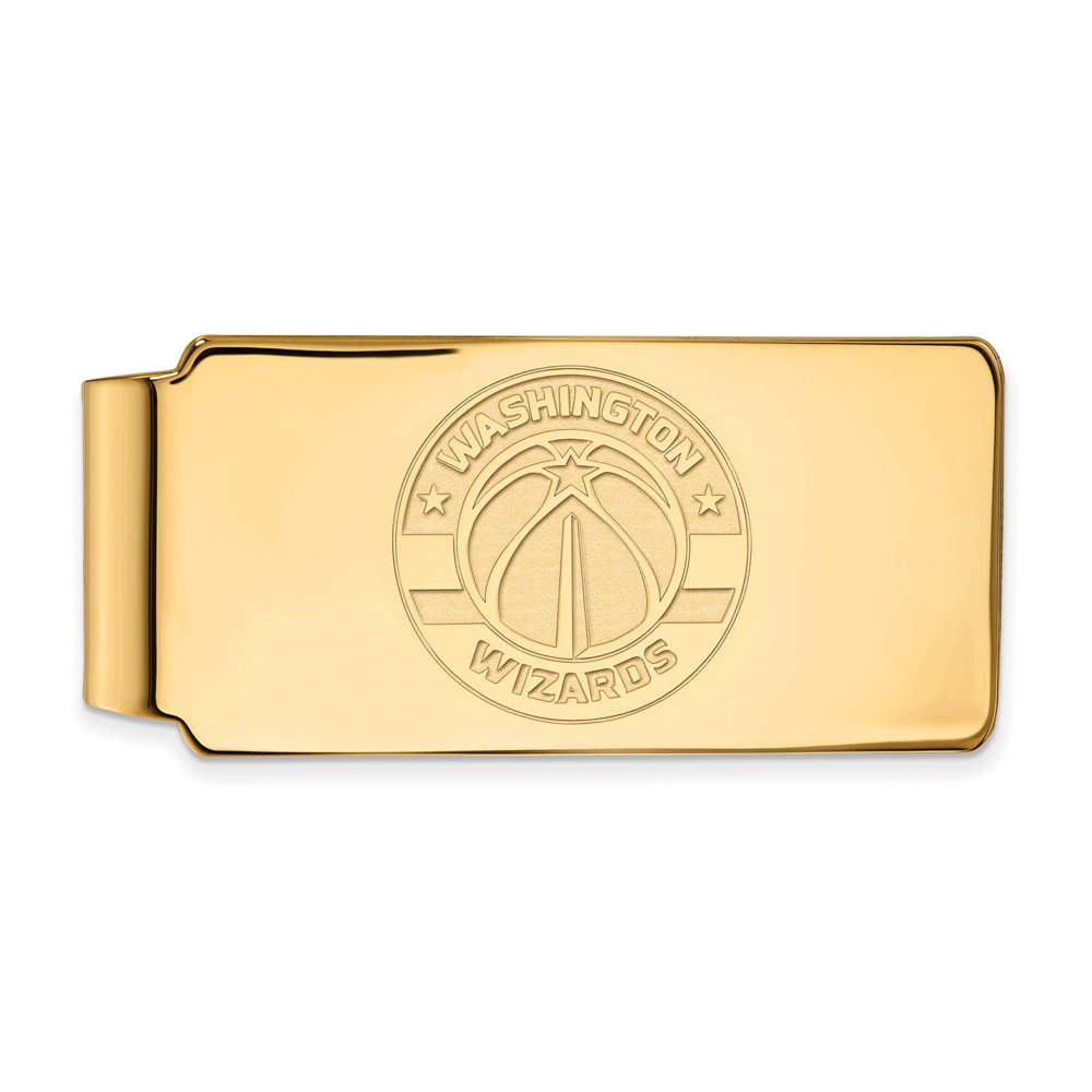 NBA Washington Wizards Money Clip in 18k Yellow Gold Flashed Silver