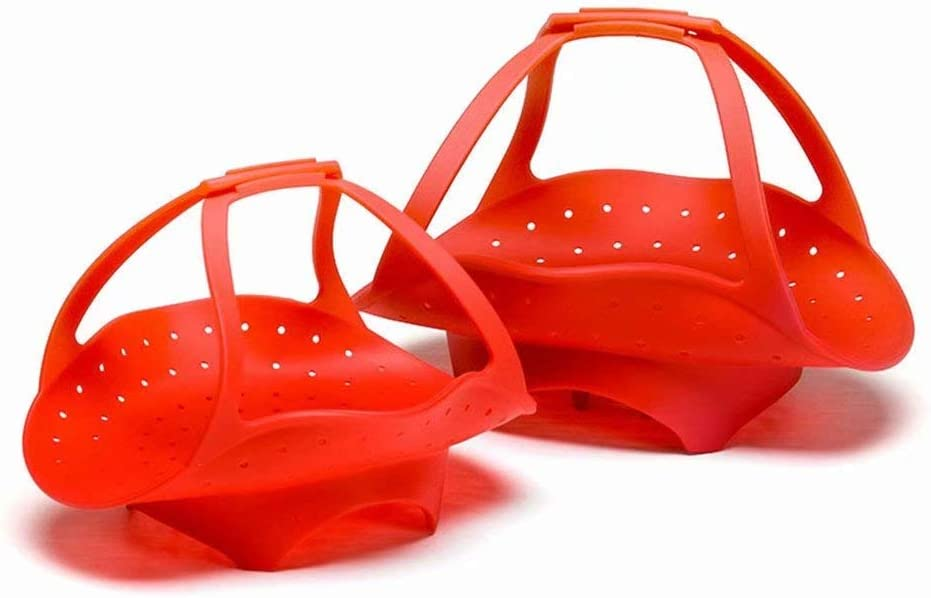 HANBIN Cesta de vapor de silicona plegable con asas Rojo S Cesta de vapor de vegetales Accesorios de olla a presi/ón para olla instant/ánea Vaporera de alimentos plegable Red Small