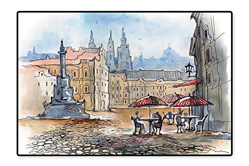 Area Rug Old Version of Prague Town with Historical Castle Buildings Heritage Print Sand Brown Slate Blue Modern Watercolor Multicolor 6
