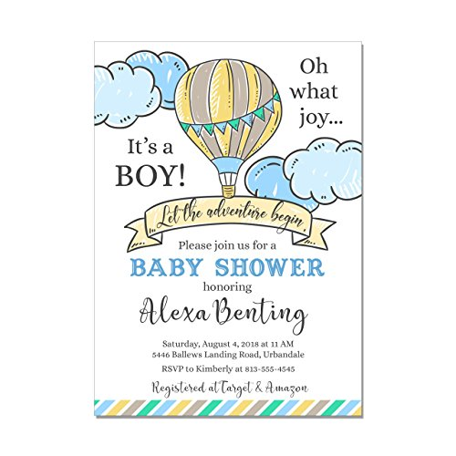 Hot Air Balloon Adventure Begins Baby Boy Shower Invitations, Base price is for a set of 10 5x7 inch card stock invitations with white envelopes -