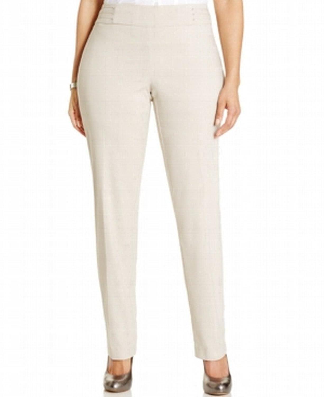 JM Collection Woman Plus Size Pull-on Slim-Leg Dress Pants Stonewall ...