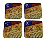 US Constitution Flag Drink Coaster Set Gift United States of America Military Veteran Home Kitchen Bar Barware