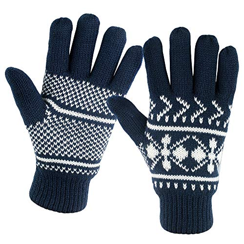Winter Gloves For Women: Womens Cold Weather Warm Snow Glove: Women's Knit Thinsulate Thermal Insulation Navy Blue