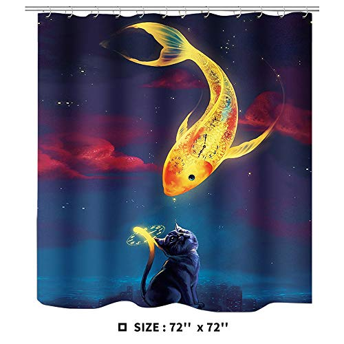 """Ihoming Printed Bathroom Shower Curtain 72"""" 72"""" 1pc Polyester Fabric Durable Waterproof Shower Curtains with 12 Plastic Hooks Goldfish and cat"""