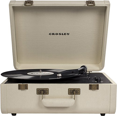 Crosley Portfolio Vintage 3-Speed Bluetooth Suitcase Turntable with Built-in Speakers, Crème (Player Record Crosley Grey)