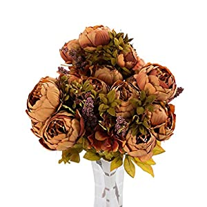 Lookatool 3 Bouquet 24 Heads Artificial Peony Silk Flower Leaf Home Wedding Party Decor TH-70 45