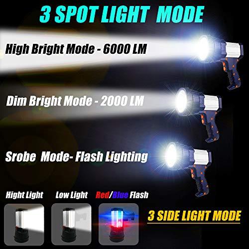 Rechargeable Spotlight Flashlight Searchlight Handheld Spotlight 6000 Lumen 10000mAh cordless spotlight Super Bright Flood Flashlight with Power Bank Function & Foldable Tripod